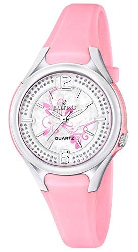 Calypso Damenarmbanduhr Quarzuhr Kunststoffuhr mit Polyurethanband und Glitzersteinchen analog K5575 Farben rosa