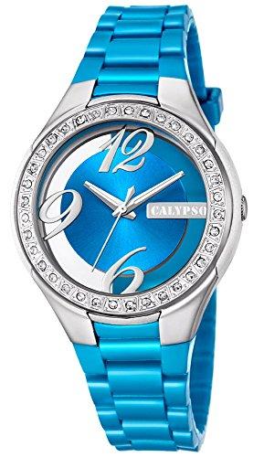 Calypso Damenarmbanduhr Quarzuhr Kunststoffuhr mit Polyurethanband und Glitzersteinchen analog K5679 Farben hellblau