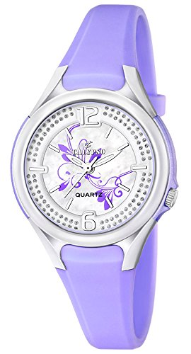 Calypso Damenarmbanduhr Quarzuhr Kunststoffuhr mit Polyurethanband und Glitzersteinchen analog K5575 Farben lila