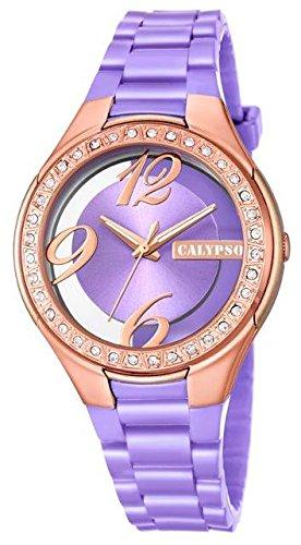 Calypso Damenarmbanduhr Quarzuhr Kunststoffuhr mit Polyurethanband und Glitzersteinchen analog K5679 Farben lila