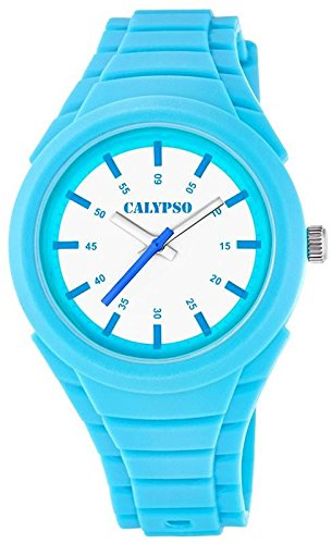 Calypso Damenarmbanduhr Quarzuhr Kunststoffuhr mit Polyurethanband analog K5724 Farben hellblau