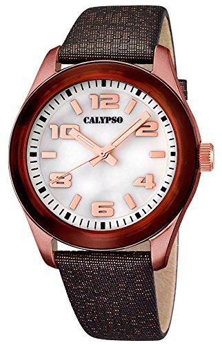 Calypso Damenarmbanduhr Quarzuhr Kunststoffuhr mit Leder Textilband analog K5653 Farben braun weiss