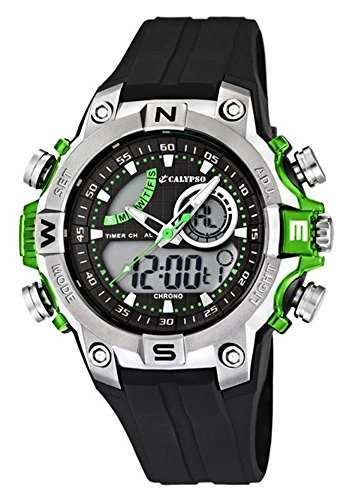 Calypso Herrenarmbanduhr Quarzuhr Kunststoffuhr Alarm Chronograph ana digi alle Modelle K5586 Calypso Artikelnummer K5586 3 Gruen