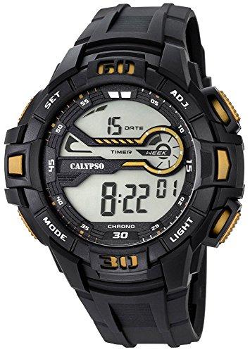 Calypso Herrenarmbanduhr Quarzuhr Digital Kunststoffuhr mit Polyurethanband Alarm Chronograph alle Modelle K5695 Variante 04