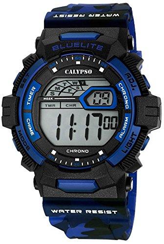 Calypso Herrenarmbanduhr Quarzuhr Digital Kunststoffuhr mit Polyurethanband Alarm Chronograph alle Modelle K5693 Variante 01
