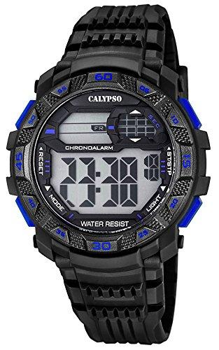 Calypso Herrenarmbanduhr Quarzuhr Kunststoffuhr mit Polyurethanband digital K5702 Farben schwarz blau