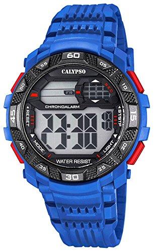 Calypso Herrenarmbanduhr Quarzuhr Kunststoffuhr mit Polyurethanband digital K5702 Farben blau