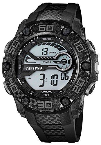 Calypso Herrenarmbanduhr Quarzuhr Kunststoffuhr mit Polyurethanband digital K5691 Farben schwarz