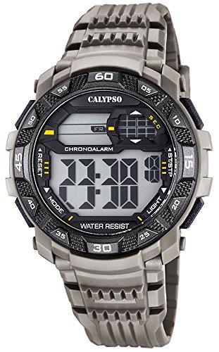 Calypso Herrenarmbanduhr Quarzuhr Kunststoffuhr mit Polyurethanband digital K5702 Farben grau