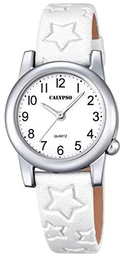 Calypso Kinderarmbanduhr Quarzuhr Analoguhr Lederband mit Sternpraegung K5708 Farben weiss