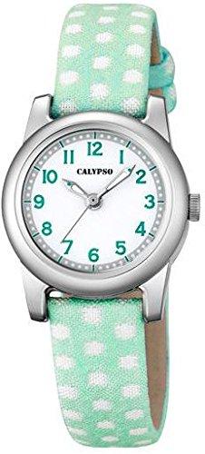 Calypso Kinderarmbanduhr Quarzuhr Analoguhr Leder Textil Band K5713 Farben gruen