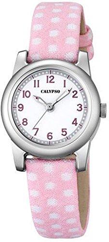 Calypso Kinderarmbanduhr Quarzuhr Analoguhr Leder Textil Band K5713 Farben rosa