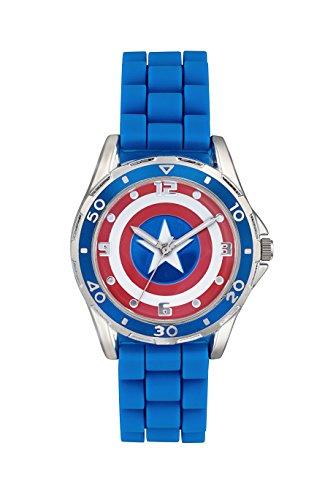 Captain America Kinder Quarz Uhr mit Zifferblatt Analog Anzeige und Blau Gummiband cta3138