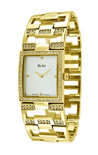 Mador Damen Armbanduhr Analog Quarz in Gold Weiss MAW1214