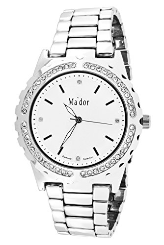 Mador Damen Armbanduhr Analog Quarz in Silber Weiss MAW1218