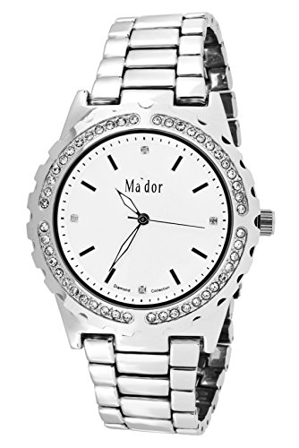 Mador Damen Armbanduhr Analog Quarz in Silber Weiss MAW1219