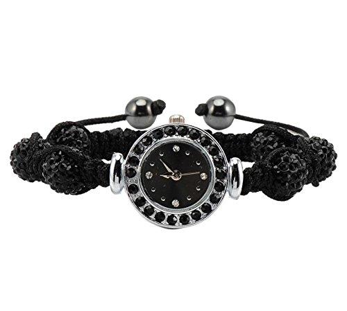 Mador Damen Armbanduhr Analog Quarz Shamballa Zirkonia Beads Charms Perlen in Schwarz SHA WB37