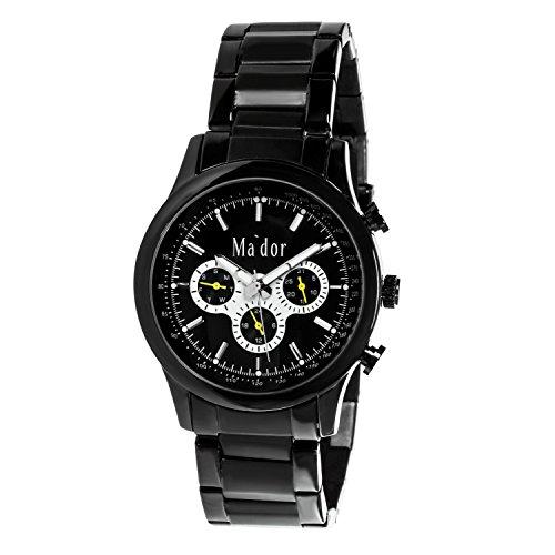 Mador Herren Armbanduhr Analog Quarz Schwarz MAM 554