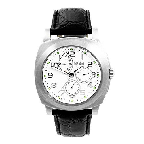 Mador Herren Armbanduhr Analog Quarz Leder Schwarz G04021 W