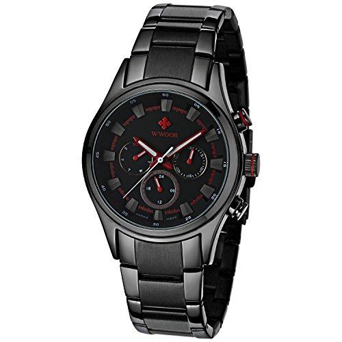 Herren Luxus 24 Stunden Datum Woche Uhren Maennlich Kleid Sport Edelstahl Army Military Armbanduhr Rot