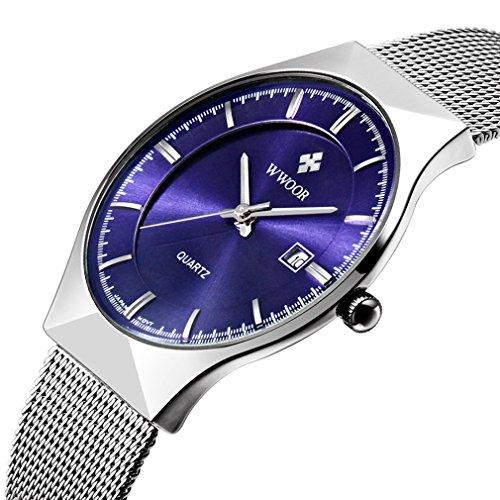 Herren s Ultra Duenn Business Kalender Herren Fashion Edelstahl Mesh Band Armbanduhr Blau