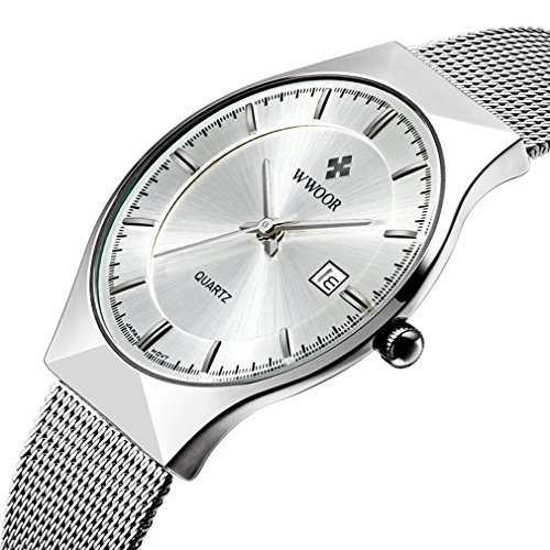 Herren s Ultra Duenn Business Kalender Herren Fashion Edelstahl Mesh Band Uhr Silber