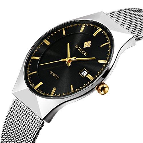 Herren s Ultra Duenn Business Kalender Herren Fashion Edelstahl Mesh Band Armbanduhr Schwarz