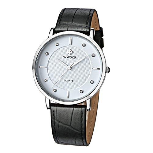 Herren Luxus Marke Fashion Business Quarzuhr Herren Armbanduhr Ultraduenn ECHT LEDER WEIss