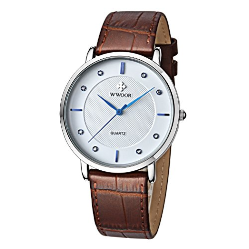 Herren Luxus Marke Fashion Business Quarzuhr Herren Armbanduhr Ultraduenn ECHT LEDER BRAUN