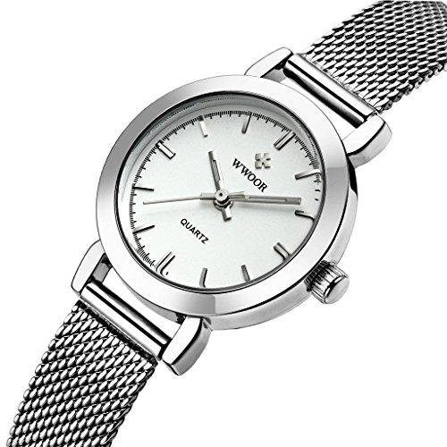 wwoor Frauen S Ultra duennes Mesh Band Edelstahl Damen Elite Sport Armbanduhr Silber