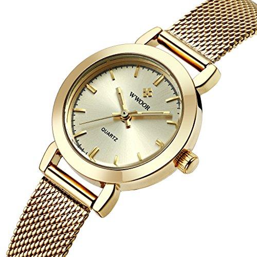 wwoor Frauen S Ultra duennes Mesh Band Edelstahl Damen Elite Sport Armbanduhr Gold