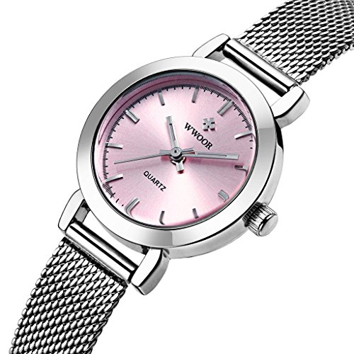 wwoor Frauen S Ultra duennes Mesh Band Edelstahl Damen Elite Sport Armbanduhr Pink