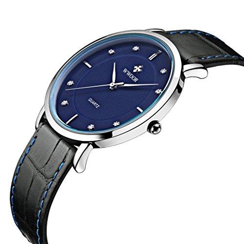 Herren Luxus Marke Ultra Duenn Full echtes Leder Uhr Stecker Wasserdicht Casual Sport Armbanduhr Blau