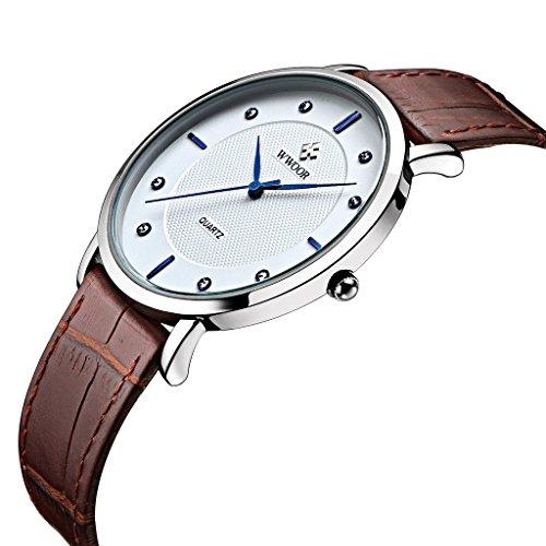Herren Luxus Marke Ultra Duenn Full echtes Leder Uhr Stecker Wasserdicht Casual Sport Armbanduhr Braun