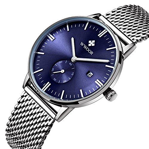 Herren Luxus Edelstahl Mesh Band Uhr mit Datum maennlich Casual Kleid Sport Handgelenk Uhren blau