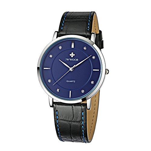 Herren Luxus Marke Fashion Business Quarzuhr Herren s Ultra Duenn Echt Leder Armbanduhr Blau