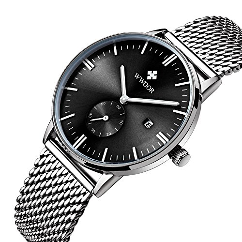Herren Luxus Edelstahl Mesh Band Uhr mit Datum Schwarz
