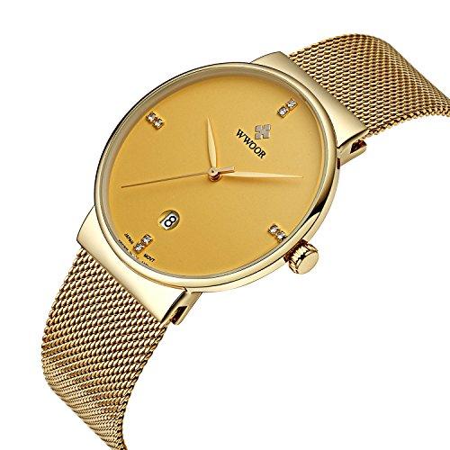 wwoor Herren s Ultra duennes Mesh Band Edelstahl Uhren Maennlich Elite Sport Datum Armbanduhr Gold
