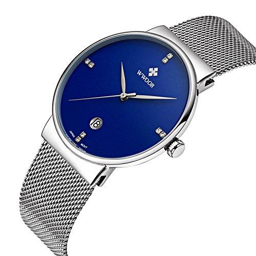 wwoor Herren s Ultra duennes Mesh Band Edelstahl Uhren Maennlich Elite Sport Datum Armbanduhr Blau