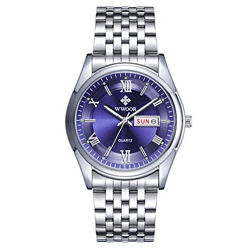 Herren Luxus Top Marke Kalender Armbanduhr Datum Tag Edelstahl Luminous Uhren Herren Casual Fashion Sport Armbanduhr Blau