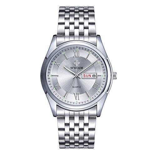 Herren Luxus Top Marke Kalender Armbanduhr Datum Tag Edelstahl Luminous Uhren Herren Casual Fashion Sport Armbanduhr Silber