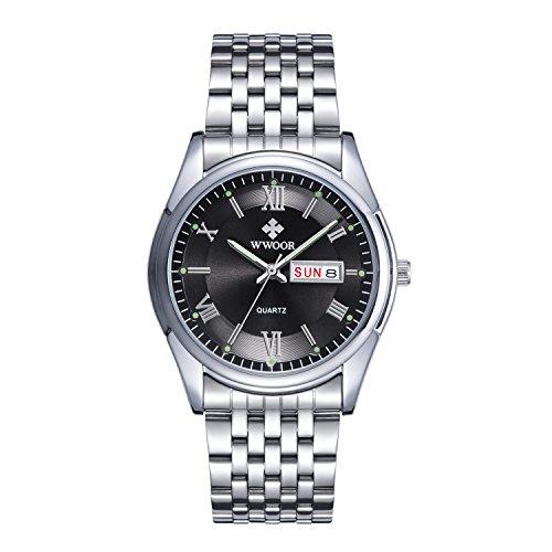Herren Luxus Top Marke Kalender Armbanduhr Datum Tag Edelstahl Luminous Uhren Herren Casual Fashion Sport Armbanduhr Schwarz