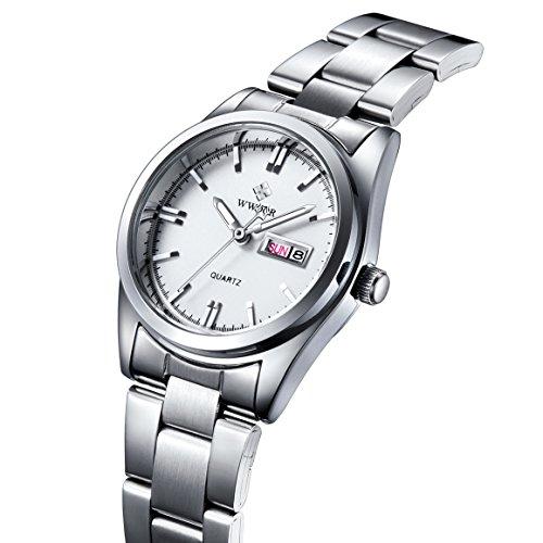 Damen Datum Kalender Uhr Damen Fashion Casual Edelstahl Uhren weiblich casua Armbanduhr Weiss