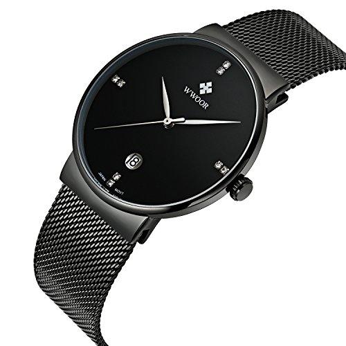 wwoor Herren s Ultra duennes Mesh Band Edelstahl Uhren Maennlich Elite Sport Datum Armbanduhr Schwarz