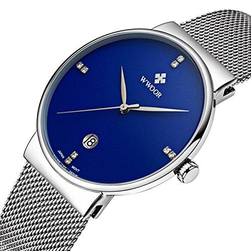 Herren Luxus Ultra Duenn Fashion Business Kalender Quarzuhr Business Edelstahl Mesh Band Blau
