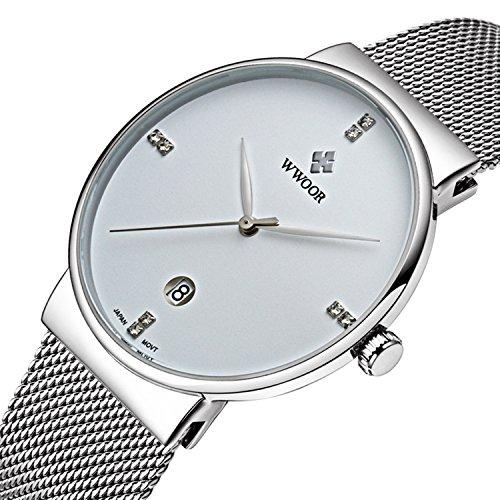 Herren Luxus Ultra Duenn Fashion Business Kalender Quarzuhr Business Edelstahl Mesh Band Silber