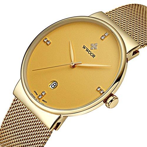Herren Luxus Ultra Duenn Fashion Business Kalender Quarzuhr Business Edelstahl Mesh Band Gold