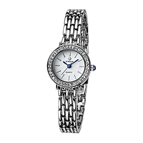 Damen Verschieden Sport Armbanduhr stossfest Edelstahl Link Maedchen Wasserdicht Uhren Digital Outdoor Armbanduhr Weiss