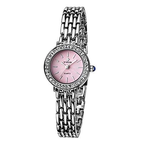 Damen Verschieden Sport Armbanduhr stossfest Edelstahl Link Maedchen Wasserdicht Uhren Digital Outdoor Armbanduhr Pink