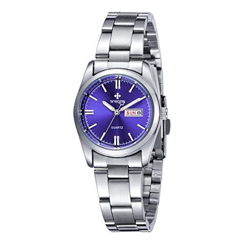 Frauen neue Marke Datum Tag Uhr weiblich Edelstahl Armbanduhr Damen Fashion Casual Armbanduhr Quarz Handgelenk watches blue